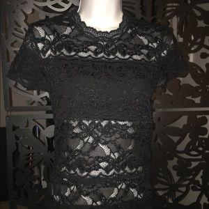 Women's Bebe sheer lace black shirt